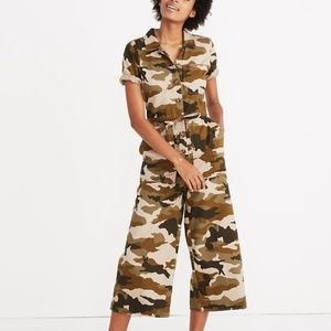 Madewell Wide-Leg Utility Jumpsuit in Camo